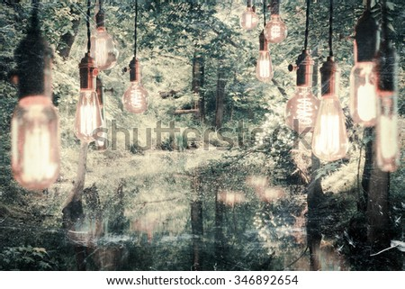 Decorative antique edison style filament light bulbs hanging in the woods - stock photo
