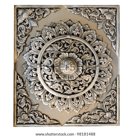 Decorative Art of Lanna Thai;Engraving of the silver value. - stock photo
