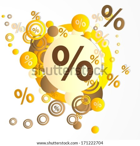 decorative art percent sign in front of a happ party art background with flying percent icons isolated on white background