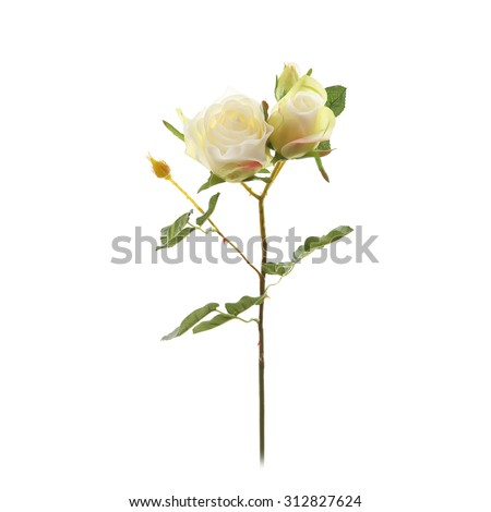Decorative artificial bunch of white roses isolated on a white - stock photo