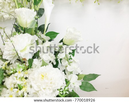 Decorative Artificial White Flowers Vase Stock Photo Royalty Free
