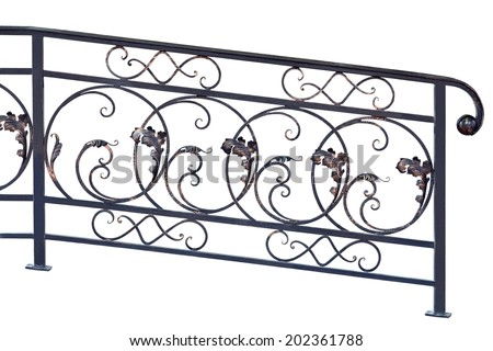 Decorative  banisters  in old  stiletto. Isolated over white background. - stock photo