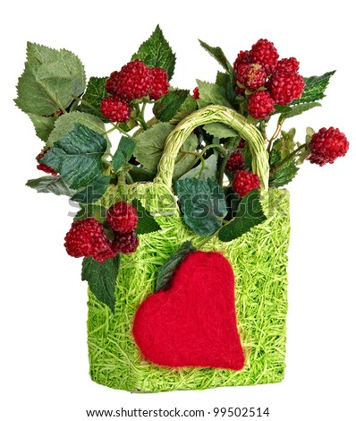 decorative basket with raspberries
