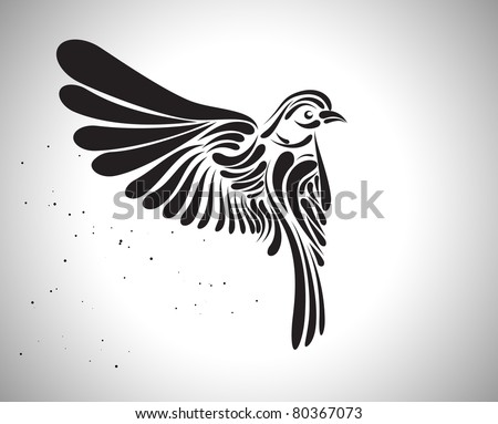 Decorative bird icon. Vector version available in my gallery. - stock photo