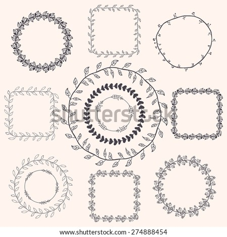Decorative Black Hand Sketched Doodle Frames, Borders. Design Elements. Illustration - stock photo