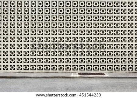decorative block wall - stock photo
