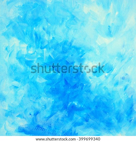 decorative blue abstract painting for interior, illustration, background - stock photo