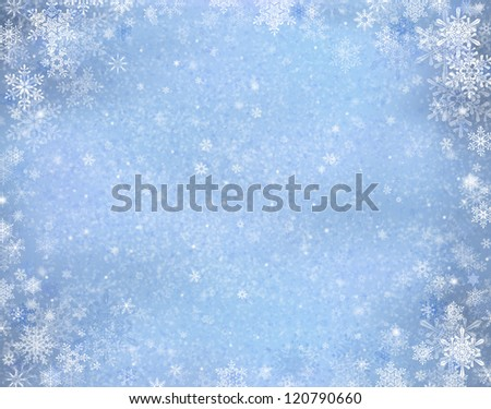 Decorative blue christmas background with bokeh lights and snowflakes - stock photo