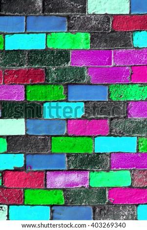 Decorative brick on the wall - stock photo