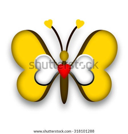 Decorative butterfly with loving heart - stock photo