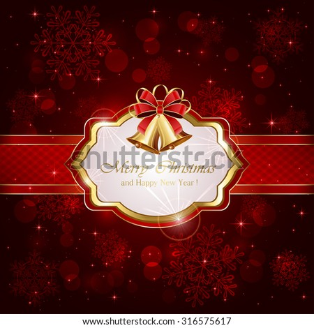 Decorative card with Christmas bells and bow on red background, illustration.