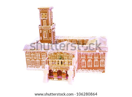 Decorative castle cookie with blue backlight - stock photo
