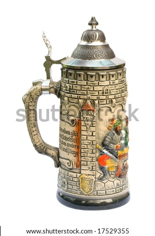 Decorative ceramic German beer stein isolated on white - stock photo