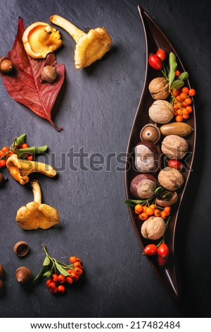Decorative ceramic plate with nuts, berries and mushrooms over black background. Top view. See series - stock photo