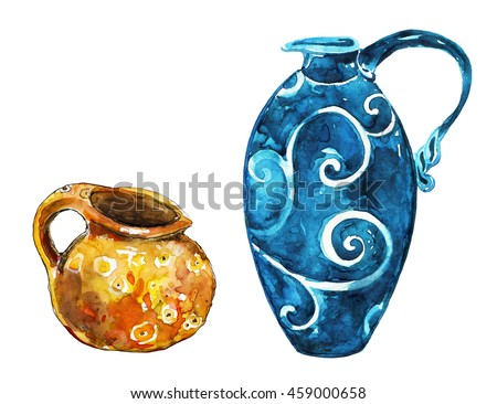 Decorative ceramic vase. Colorful ceramic pots. Vintage crockery. Hand drawn watercolor painting on white background.