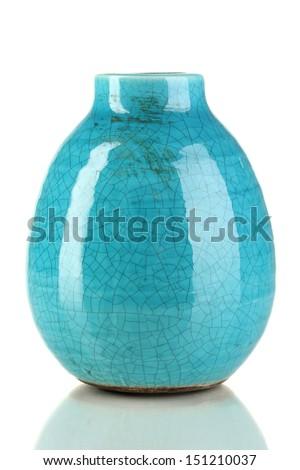 Decorative ceramic vase isolated on white