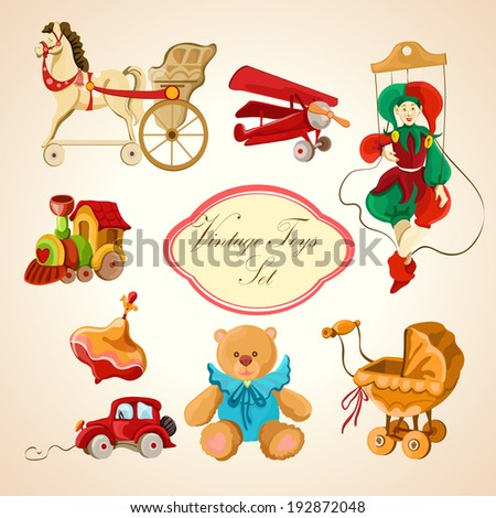 Decorative children toys sketch icons set of horse airplane puppet train isolated  illustration - stock photo