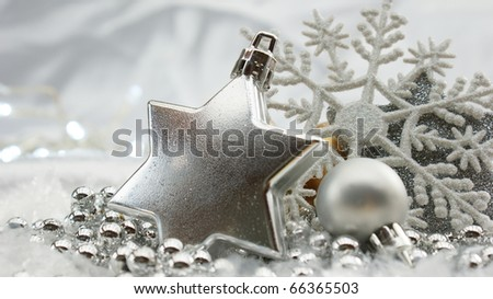 Decorative Christmas background with baubles and beads