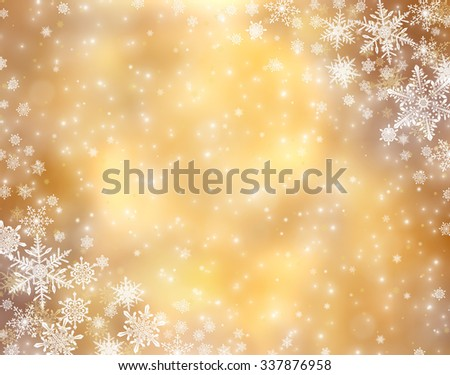 Decorative christmas background with bokeh lights and snowflakes - stock photo