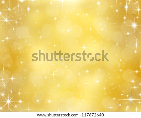 Decorative christmas background with bokeh lights and stars - stock photo