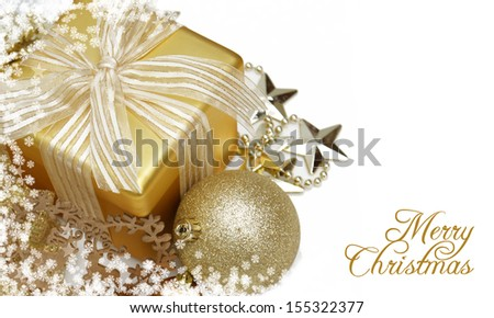 Decorative Christmas background with gift and snowflake border