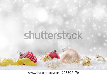 Decorative christmas background with snow. - stock photo
