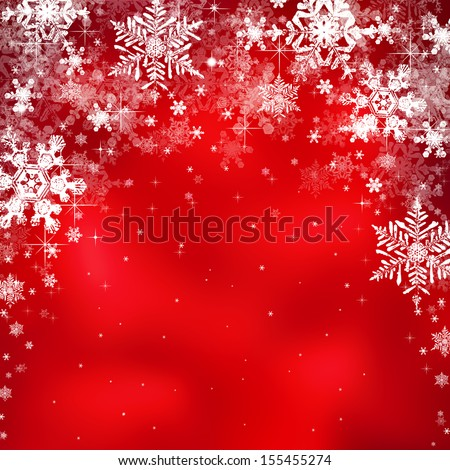 Decorative christmas background with star lights and snowflakes - stock photo
