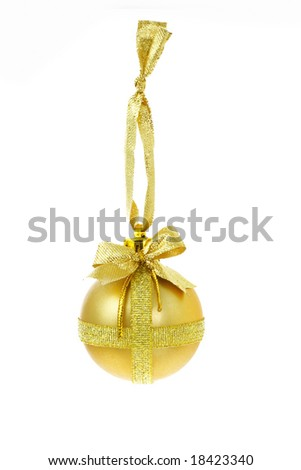 Decorative Christmas bauble with bow ribbon