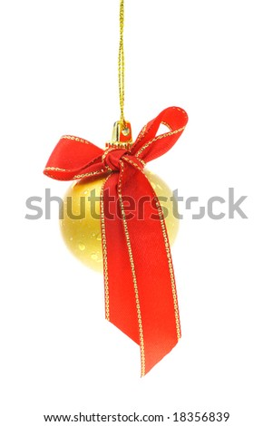 Decorative Christmas bauble with red bow ribbon
