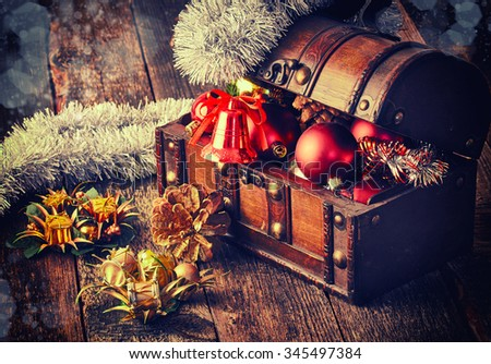 Decorative Christmas bell With Treasure Box - stock photo