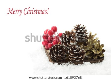 Decorative christmas composition in snow with easy removable text. - stock photo