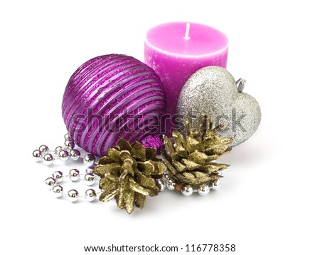 Decorative christmas composition  isolated on white background - stock photo