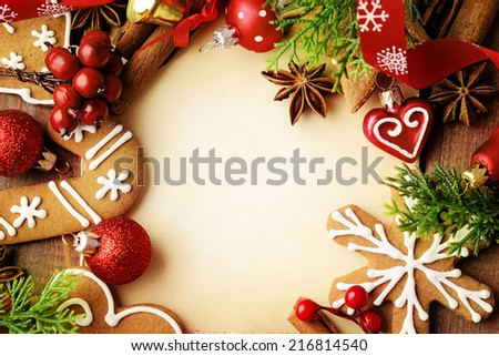 decorative christmas gingerbreads frame background - stock photo