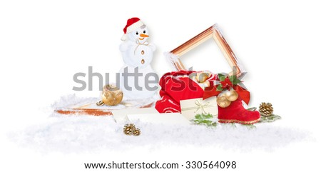 Decorative Christmas/New Year composition with Santa's bag and Snowman - stock photo