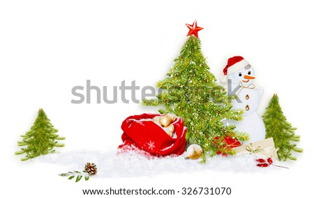 Decorative Christmas/New Year composition with snowman - stock photo