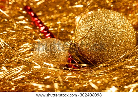 Decorative Christmas or New Year festive background with space for your text. Shallow DOF, artistic toned photo - stock photo