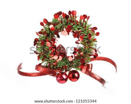Decorative christmas wreath isolated on white background - stock photo
