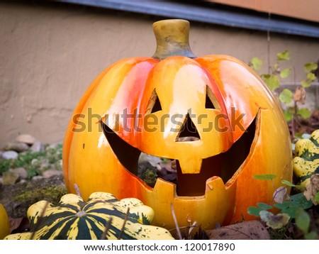 Decorative clay pumpkin - stock photo
