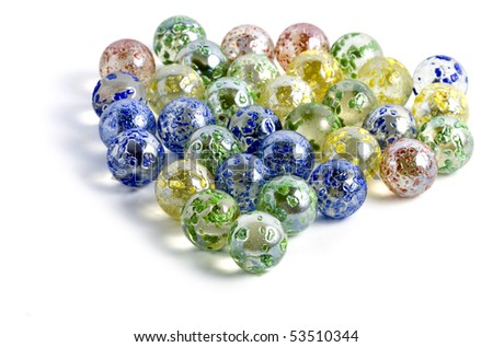 Decorative colored  glass balls ( marbles ) isolated on a white - stock photo