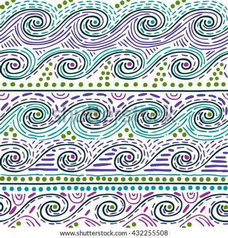 decorative colorful ethnic seamless pattern of playful water waves - stock photo