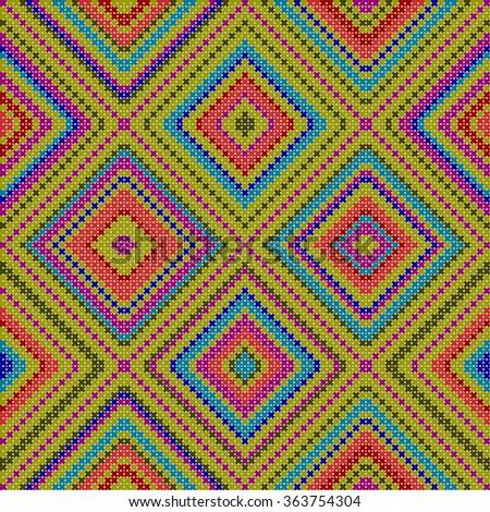 decorative colorful ethnic x-stitch seamless pattern - stock photo