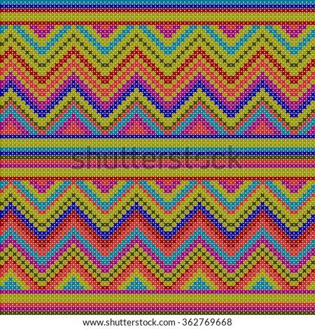 decorative colorful ethnic x-stitch zigzag seamless pattern - stock photo