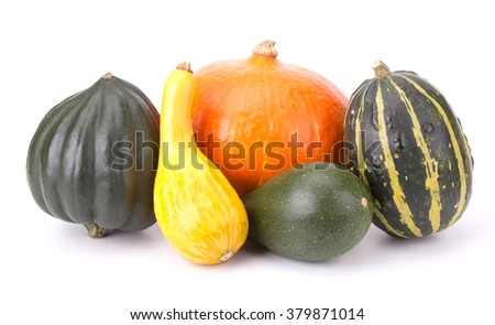 Decorative colorful pumpkin collection isolated on white background - stock photo