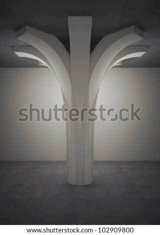 Decorative Column, Underground Floor   3d Illustration