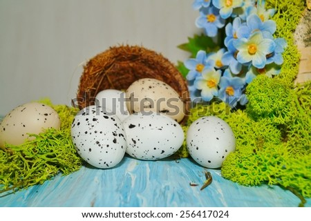 Decorative composition Easter - quail eggs in the basket