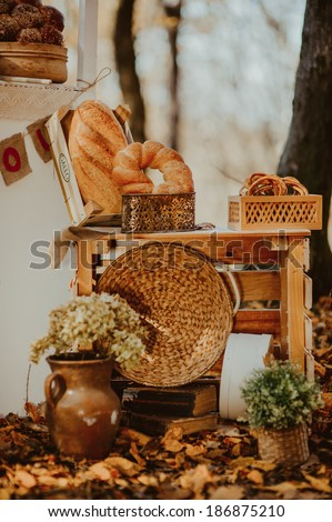 decorative composition on bread