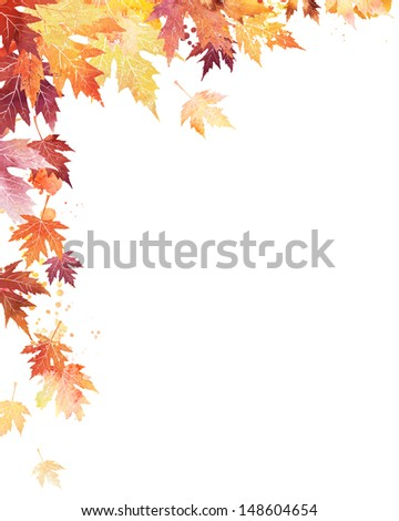 Decorative corner with watercolor autumn leaves