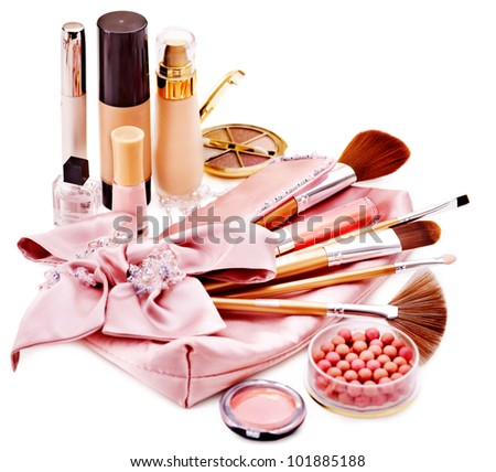 Decorative cosmetics and flower. Isolated. - stock photo