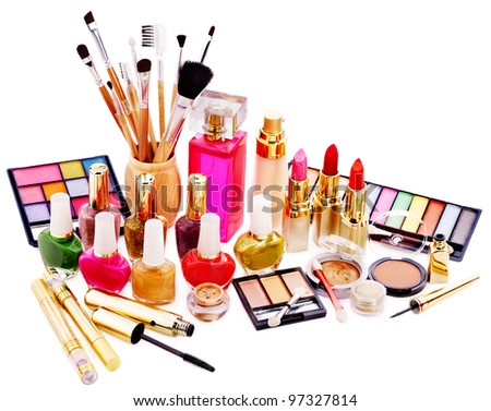 Decorative cosmetics and perfume. Isolated. - stock photo