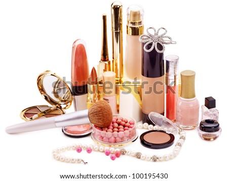 Decorative cosmetics for makeup. Close up. - stock photo